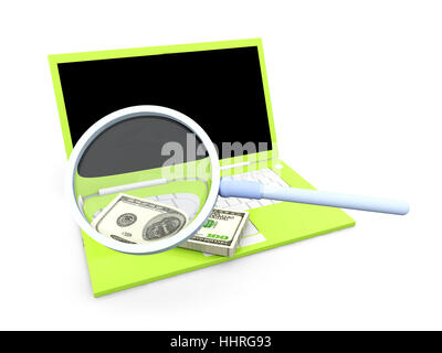 note, memo, laptop, notebook, computers, computer, dollar, dollars, PC, - Stock Photo