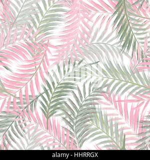Leaves of palm tree. Seamless pattern. Palm leaf in violet on white background. Tropical trees leaves. - Stock Photo
