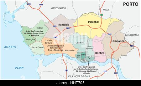 Administrative, political and street map of the Portuguese city of Porto - Stock Photo