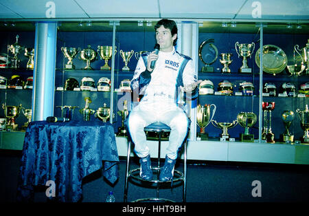 Australian Formula One driver Mark Webber takes questions from the press at the launch of the 2006 Williams F1 car - Stock Photo