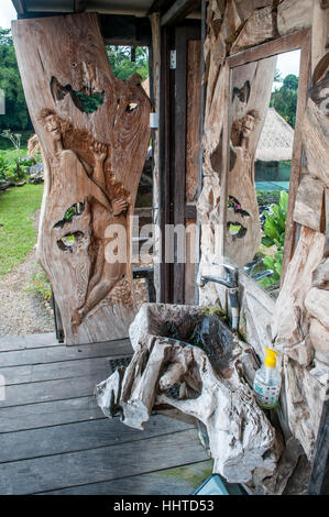 sanitary sink made of wood, outside the bathroom,jatiluwih rice terrace, Bali, Indonesia - Stock Photo