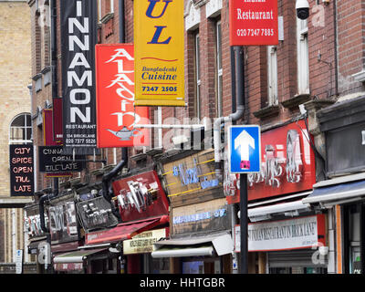 Restaurant Signs in Brick Lane, London East End - Stock Photo