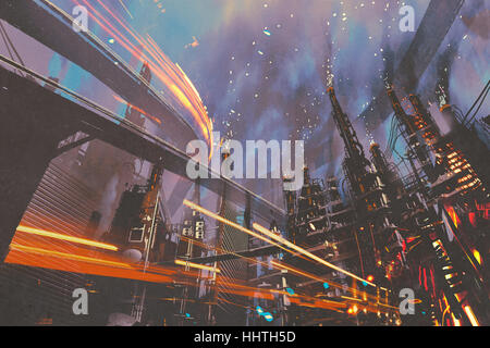sci-fi scenery of futuristic city with industrial buildings,illustration painting - Stock Photo