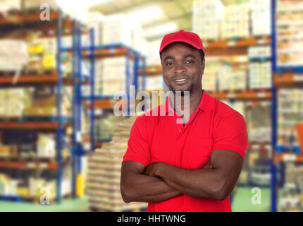 men, man, workplace, uniform, work, factory, African, deliver, red, workers, - Stock Photo