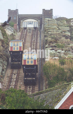 The East Hill Cliff Funicular cable lift Railway in Hastings on a cold winter day - Stock Photo