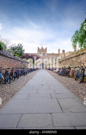 A Cambridge college, with bikes during a visit in in 2016 - Stock Photo