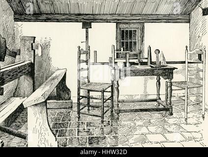 Benedict (Baruch) Spinoza, . Dutch philosopher .1632-1677. Workroom at Rhinjsburg. - Stock Photo