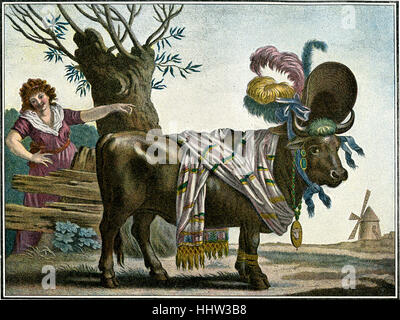The fashion ox - anonymous French caricature satirising 19th century fashion, depicting a cow wearing a large hat, - Stock Photo