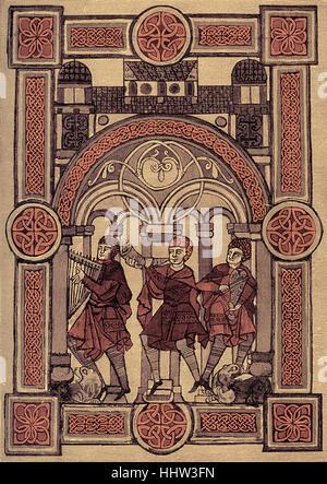 King David's chorus leaders - miniature from 11th century psalter / book of psalms, Leipzig - Stock Photo