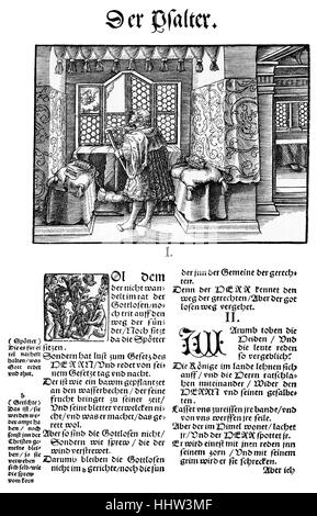 First page of the Book of Psalms in Martin Luther's translation of the Bible, first edition published in Wittenberg - Stock Photo