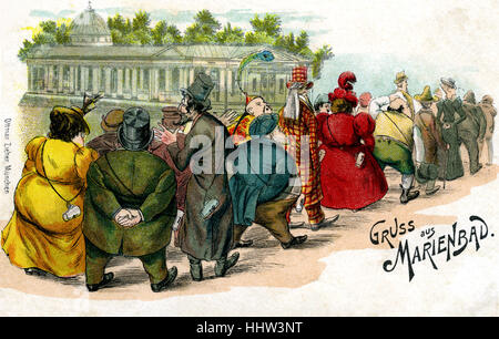 Gruss aus Marienbad Greetings from Marienbad. Famous Spa in Czech Republic in late 19th century. Illustration shows - Stock Photo