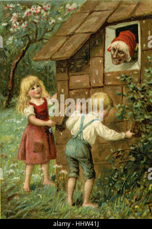 'Hänsel und Gretel' (Hansel and Gretel) - German fairy tale by the Brothers Grimm. The witch lures Hansel and Gretel - Stock Photo