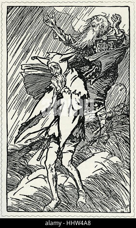 King Lear  by William Shakespeare.  Illustration by Arthur Rackham (1867 - 1939) . 'There upon a heath, exposed - Stock Photo