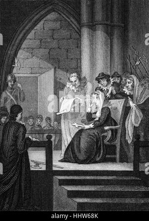 Mary, Queen of Scots (1542 – 1587), also known as Mary Stuart or Mary I of Scotland reading the death warrant signed - Stock Photo