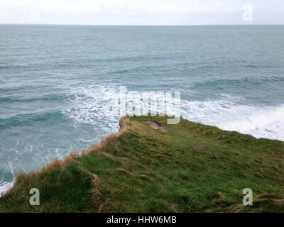 On the top of Falaise d'Etretat, Normandy, France - Stock Photo