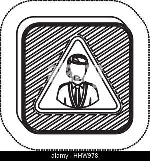 sticker monochrome square with call center operator vector illustration - Stock Photo
