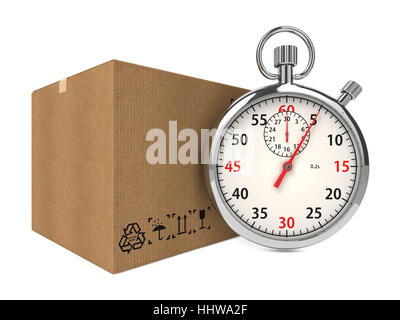 Stopwatch Over a Carton Boxes. Express Delivery Concept. - Stock Photo