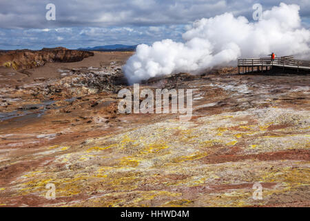 Steaming fumarole at  Gunnuhver geothermal area  in the southwest part of the Reykjanes Peninsula of Iceland - Stock Photo
