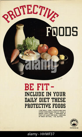 Protective foods. Be fit - include in your daily diet these protective foods  - Vintage travel poster 1920s-1940s - Stock Photo
