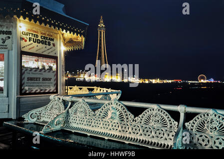 Blackpool tower and seafront viewed from the North pier at night. Lancashire. England. UK - Stock Photo