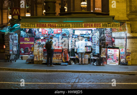 Street stall or Newsagent situated in Piazza Della Repubblica, Rome, Italy, Europe - Stock Photo