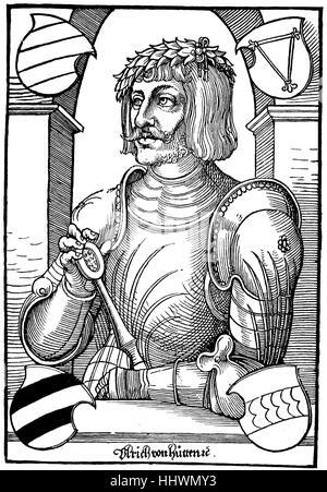 Facsimile by Ulrich von Hutten, 1488 - 1523, was a German Renaissance humanist, is also called the first Reichsritter, - Stock Photo