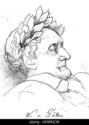 Johann Wolfgang von Goethe , 28 August 1749 - 22 March 1832, was a German writer and statesman, Drawn by Friedrich - Stock Photo