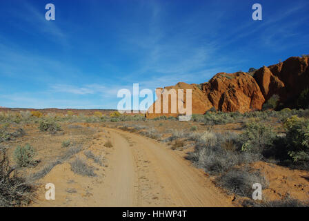 rocks and sandy road near harris wash,utah - Stock Photo