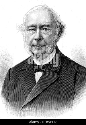 Wilhelm Georg Friedrich Roscher, October 21, 1817 - June 4, 1894, was a German economist from Hanover, historical - Stock Photo