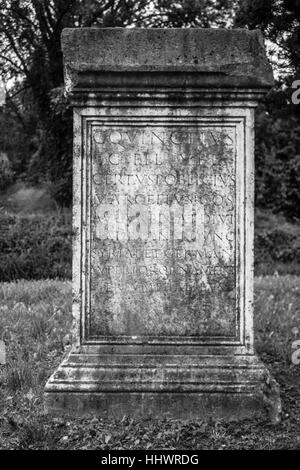Ancient memorial with romanian writings, black and white, holiday - Stock Photo