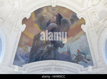 Allegorical ceiling painting Mysticism or Christian Art (1903-1908) by French painter Albert Besnard in the main - Stock Photo