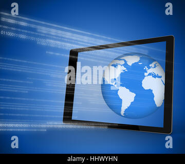 Tablet PC showing the world against blue background with binary code - Stock Photo