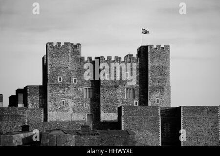 Spring Landscape, Dover Castle; Dover town; Kent county; England - Stock Photo