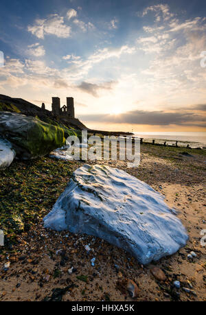 Reculver Towers on the North Kent coast nr Herne Bay - Stock Photo