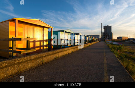 Beach huts on Whitstable seafront, Kent. - Stock Photo