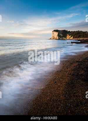 Early morning Sun on the White Cliffs of Dover at St. Margaret's Bay, Kent - Stock Photo