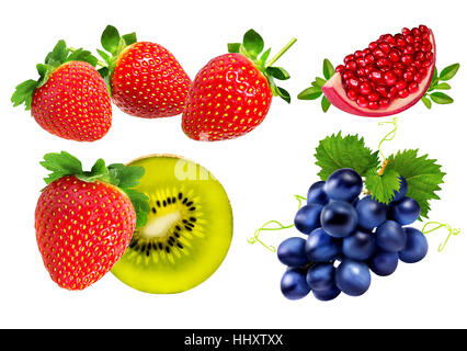 strawberries, kiwi, pomegranate, grapes isolated on the white background - Stock Photo