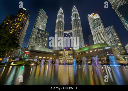 Christmas decoration 2016 at KLCC by Lake Symphony Water Fountain Show at Dusk - Stock Photo