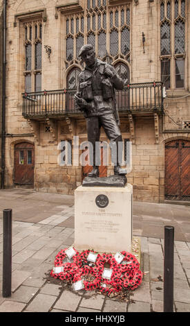 Memorial statue to the Durham Light Infantry in Market Square,Durham City,England,UK by Alan Beattie - Stock Photo
