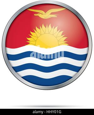 Vector Kiribatian flag button. Kiribati flag in glass button style with metal frame. - Stock Photo