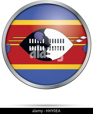 Vector Swazi flag button. Swaziland flag in glass button style with metal frame. - Stock Photo