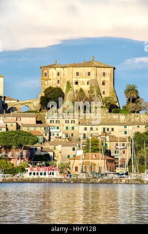 lazio village lake fortress Capodimonte - Stock Photo
