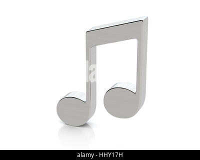 Metallic Music Note Symbol On A White Background Stock Photo
