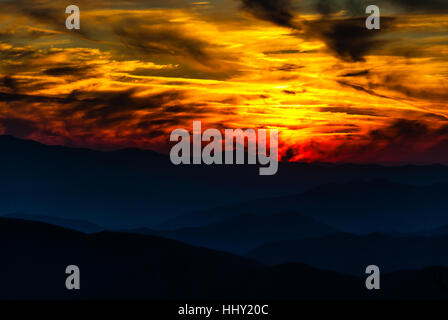 Firey sunset from Clingman's Dome - Stock Photo