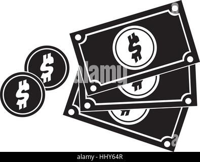 black silhouette multiple bills with coin vector illustration - Stock Photo