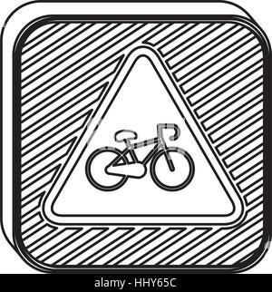silhouette square shape road signs with bicycle vector illustration - Stock Photo