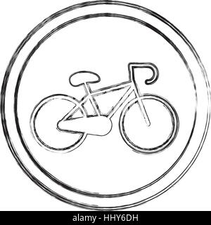 silhouette blurred with bicycle icon vector illustration - Stock Photo