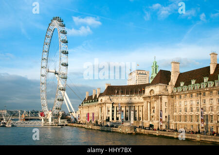 London Eye on the Southbank beside the river Thames, London, England, UK - Stock Photo