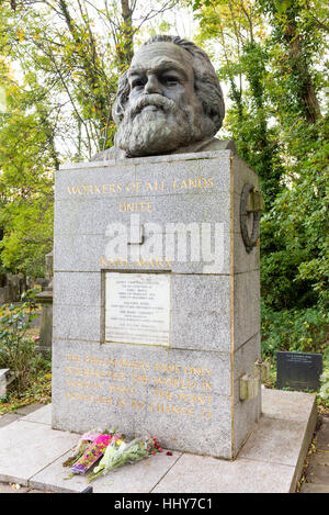Karl Marx tombstone in Highgate Cemetery, London, England, UK - Stock Photo