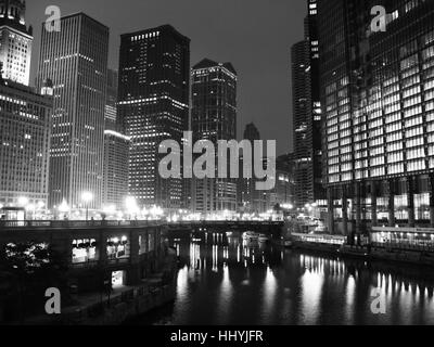 city, town, night, nighttime, usa, landmark, skyscrapers, skyscraper, humans, - Stock Photo